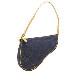Christian Dior Saddle Hand Bag Purse Indigo Brown